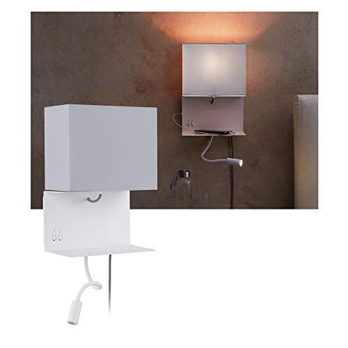 Paulmann 78913 LED Wandleuchte Merani mit Ablage incl. 1x2,5 Watt Wand-Leselampe Grau, Weiß Leseleuchte Metall, Stoff Wandlampe 3000 K E27, 2.5 W