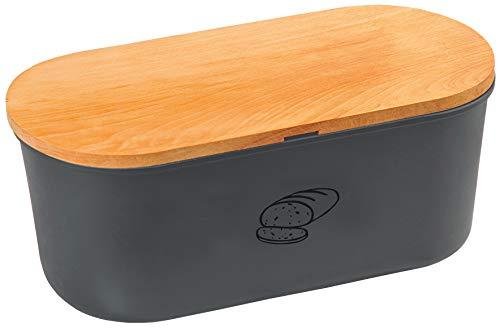 Kesper, 85093, Brotbox mit Schneidbrett, Box Melamin, Schneidbrett Buchenholz, Box 33,5 x 18 x Höhe 14 cm, Brett 34 x 18 cm