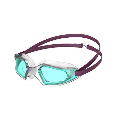 Speedo Hydropulse Junior, Occhialini da Nuoto Unisex-Youth, Deep Plum/Trasparente/Azzurro, One Size
