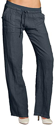 Caspar KHS025 Damen Casual Sommer Leinenhose, Farbe:dunkelblau, Größe:S - DE36 UK8 IT40 ES38 US6