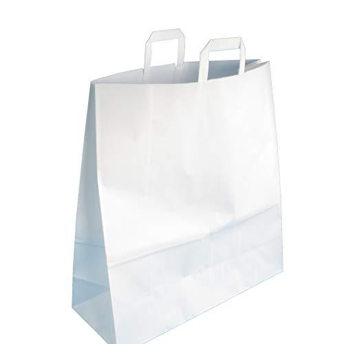 150 Papiertragetaschen Papiertüten Einkaufstüten Papier Weiß 100g/m² stark extragroß 45+17x47cm mit Flachhenkel