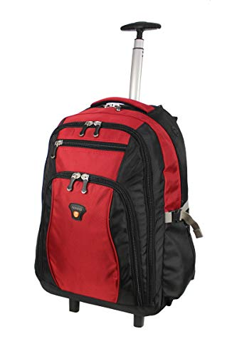 Lightweight Ballistic Nylon Business Executive Laptop Roller Bag on Wheels with Backpack Feature Fits 15'-16' Laptops & Cabin Approved 56x45x25cm EasyJet & BA (19' (EasyJet Approved), Black/Red Trim)