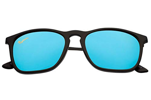 Capraia Avarengo Deportivas Rectangulares Gafas de Sol Ultra Ligeras TR90 Montura Mate Negra y Lentes Azules Espejadas Polarizadas protección UV400 Hombres