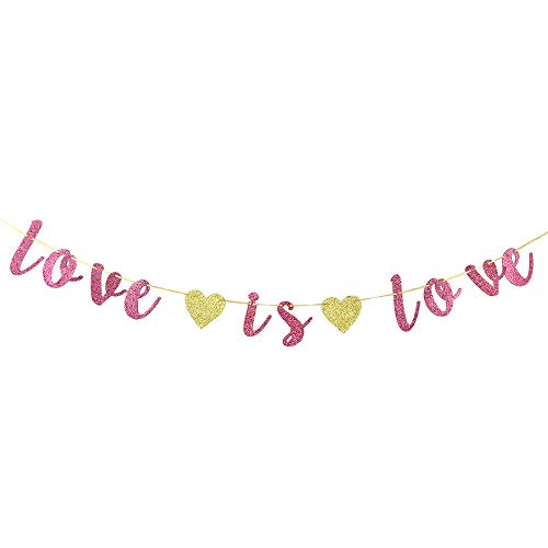 Love is Love Pink Glitter Banner, Lgbt Pride Party Decorations, Coming Out, Wedding, Engagement, Celebrations Decor Supplies