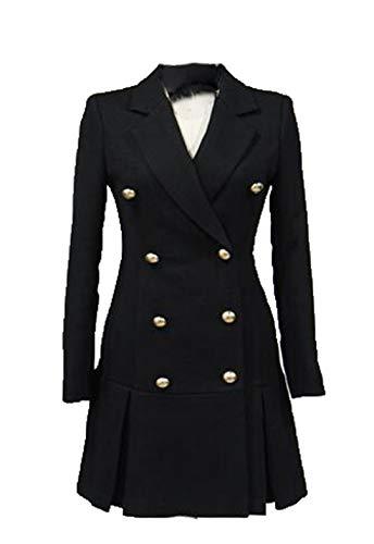 wkd-thvb Vestido de chaqueta de vino tinto de invierno para mujer, color negro, manga larga, botón plisado vestido largo traje chaqueta