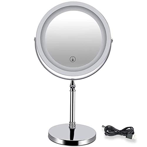 Beauty Mirror SWZXY Pantalla táctil Espejo de Maquillaje de 7 Pulgadas, Espejo de vanidad 5X / 10X, Luces Regulables con Luces y Aumento Doble Fuente 360 Giratorio portátil Los Mejores