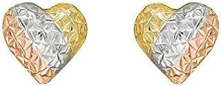 Brinco de Ouro 18k Coração Tricolor