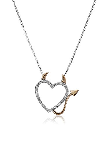 XPY Sterling Silver, 14k Rose Gold, and Diamond Devil Heart Pendant Necklace (0.06 cttw, IJ Color, I2-I3 Clarity), 18
