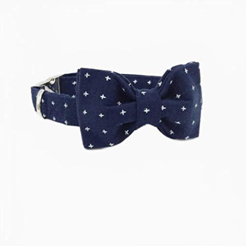 Collar de Perro Azul Oscuro Corbata de moño Hebilla de Metal Suministro de Mascotas Ajustable Collar de algodón para Perros y Gatos con corbatín, XL