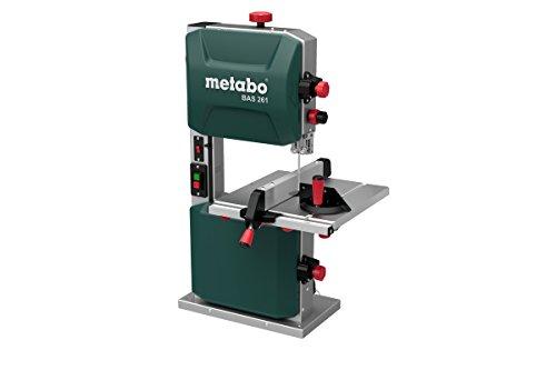 Metabo Bandsäge BAS 261 (400 Watt, max. Schnitthöhe 103 Millimeter, Durchlassbreite 245 Millimeter, LED Licht, bis zu 45° schwenkbarer Arbeitstisch, inkl. Parallel und Winkelanschlag) 619008000