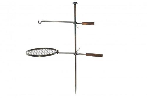 Mustang Outdoor Grill Ø 34cm | Grillstelle mit Erdspieß und Grillrost | Feuerstelle | Grillrost für Feuerschale | Grillhalterung für Dutch Oven Grilltopf |
