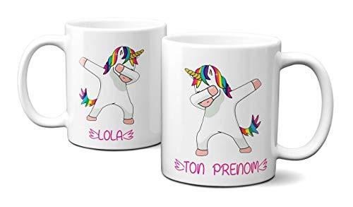 Idcase MUG Tasse en céramique café - Made in France -Personnalisable avec PRENOM aux Choix - Livraison Express Licorne Unicorn