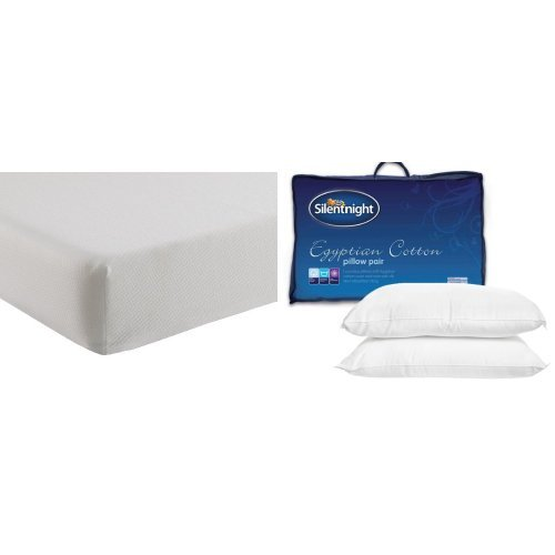 Silentnight Comfortable Foam Rolled Mattress - Small Double with Egyptian Cotton Pillow Pair