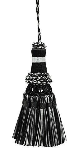 DecoPro élégant Key Tassel/38 cm de Long Tassel, 76 cm de Propagation (Embrace) Style # NKT – Noir, Gris argenté Sgb