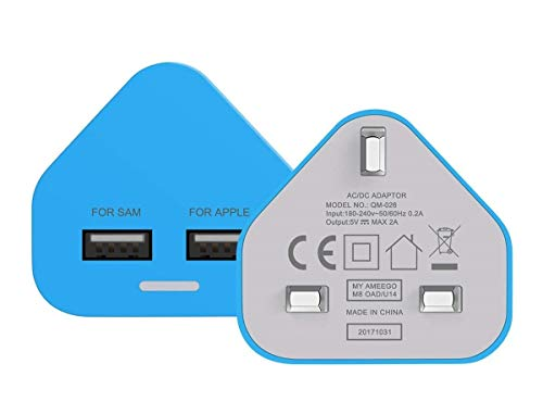 Amo Blue Dual 2AMP/2000mAh Rapid Double Speed Universal USB Charger With Smart IC UK Plug For iPhone/iPad/iPod/Samsung Galaxy Tab/HTC/Windows Phone/Tablet & USB Socket Devices