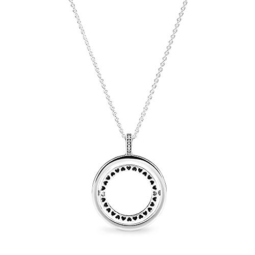 """Pandora Jewelry Spinning Hearts Cubic Zirconia Necklace in Sterling Silver, 23.6"""""""