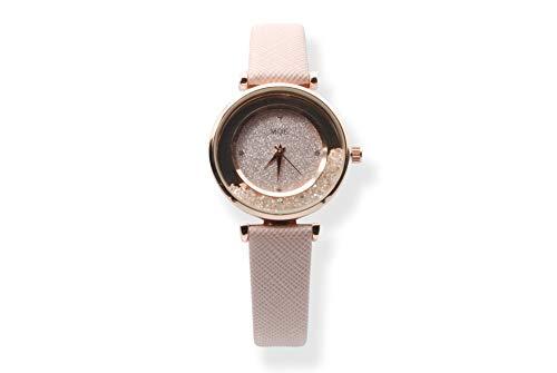 MQE Reloj de Pulsera de Cuarzo para Mujer con Cinturón Moderno y Piedras en Esfera Analógica (Rosa)
