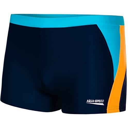 Aqua Speed Enge Badehosen blau Herren | Moderne Schwimmhose für Männer I Mens Swimwear Tight I Schwimmbekleidung I UV Badepants kurz I Swimming I Sport I Dario, Gr. L, Navy/orange/Blue