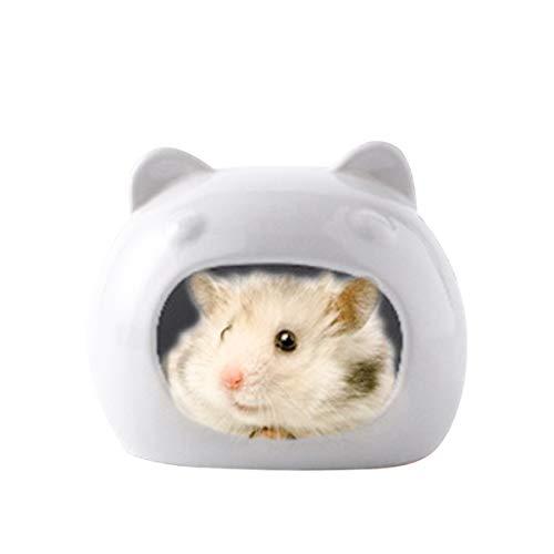 ZUKIBO Hamster Ceramic House, Ceramic Critter Bath, Sand Bath Cage for Small Animal, Chinchilla dust Bath Bowl, Dwarf Hamster Accessories
