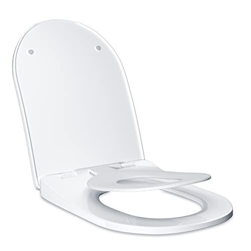 Toilettendeckel mit Kindersitz WC Sitz mit Absenkautomatik U-förmige Klodeckel Familien Toilettensitz Klobrille für Kinder Erwachsenen