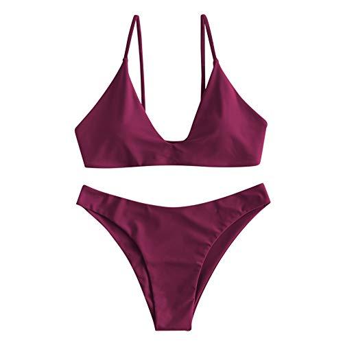 ZAFUL Damen Gepolsterte Bikini Set, Push Up Badeanzug mit Vorderknoten-Hinterhaken-Stil in einfarbige Bademode Sommer (kastanienbraun, M)