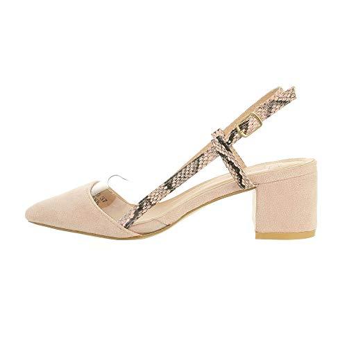 Ital-Design Damenschuhe Pumps High-Heel Sandaletten, F249-, Kunstleder, Hellrosa, Gr. 38