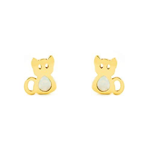 Orecchini Per Bambini Gatto Madreperla - Oro Giallo 9K (375)