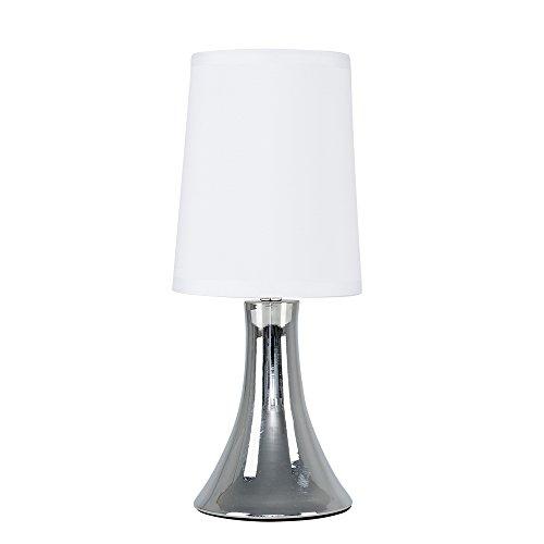 MiniSun – Lámpara de Mesa Moderna Táctil Cromada - Pantalla de Tela Blanca - Clase de eficiencia energética A+ - Iluminación Interior – Lámpara de Sobremesa – Mesilla de noche