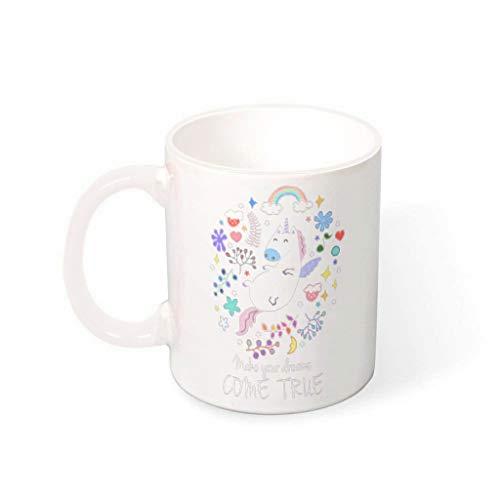 O2ECH-8 Floral Unicorn water muesli beker mok met handvat glad keramiek fun beker mok - cartoon vakantie Kerstmis heden heden heden heden te gebruiken, geschikt voor thuis