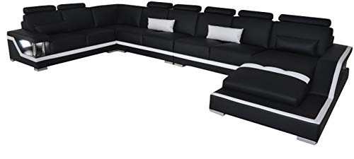 JVmoebel Sofá de piel en forma de U con chaise longue L6002