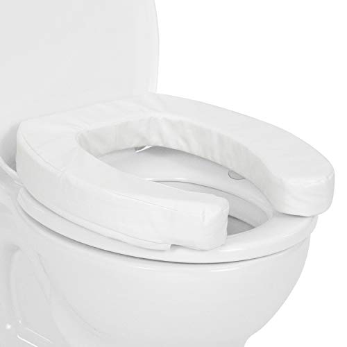 Vive Toilet Seat Cushion (2 Inch) - Raised Soft Padded Cover For Round, Standard, Elongated Potty - White Cushioned Foam Pad For Adults, Elderly, Post-Surgery - Portable With Wide Oval Gap For Comfort