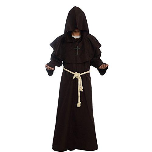 BLESSUME Priester Robe Mönch Mittelalterliche Kapuze Kapuzenmönch Renaissance Robe Kostüm (Braun) (L)