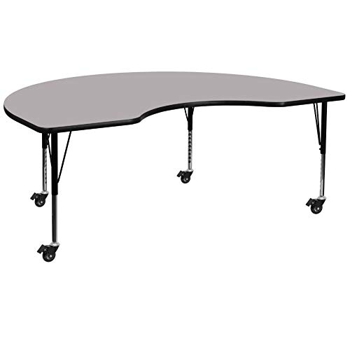 Flash Furniture Mobile 48''W x 72''L Kidney Grey Thermal Laminate Activity Table - Height Adjustable Short Legs
