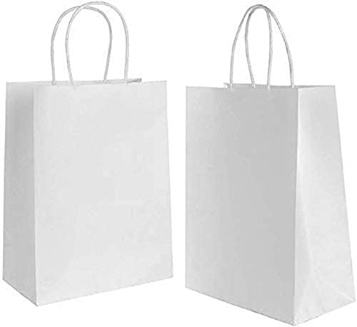 Gaoyong 20 Stück Papiertüten Weiß 27*21*11CM,Papiertüten mit Henkel,Geschenktüten Weiß,Papiertüten,Kraftpapier tüten (verdicken 130gsm)