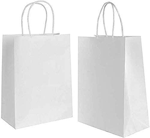 15 piezas Bolsas de Papel 32x 26 x12CM,Bolsas Papel Blanco,Bolsas de Papel con Asas,Bolsas Papel Kraft,Bolsas Regalo(Espesar 130gsm)