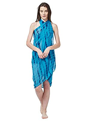 SOURBH Women's Faux Georgette Beach Wear Wrap Sarong Shibori Printed Pareo Swimsuit Cover Up