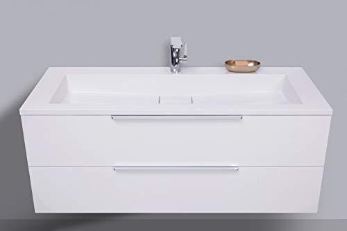 Intarbad ~ Badmöbel Set 120 cm Waschtisch Evermite, mit Unterschrank und Led Lichtspiegel Grau Matt Lack IB1471