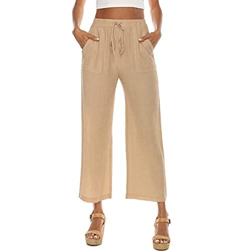 MUYOGRT Pantalones de verano para mujer, pantalones de lino, pantalones de ocio, sueltos, para verano, ligeros, pernera ancha, bombachos, sueltos, de lino con bolsillos A - caqui XXL