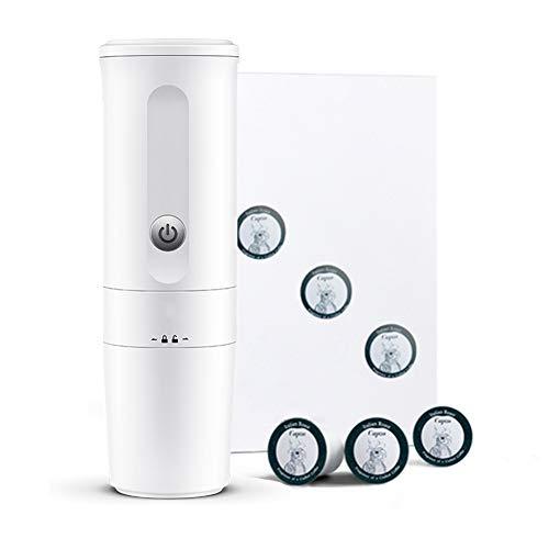 Machine à café Portable, Chauffage électrique Machine à Expresso, Capsule complètement Automatique Machine à café américaine kcup Capsule (avec Chargeur de Voiture)