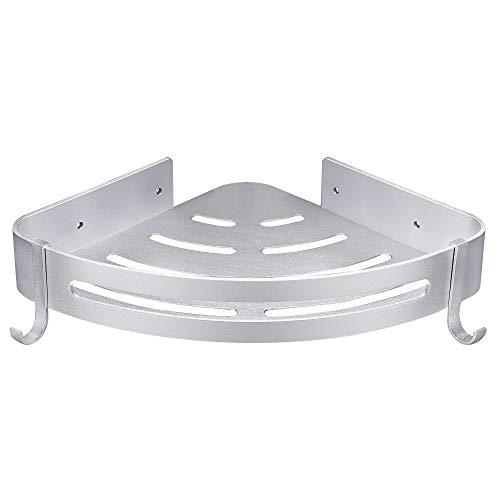 Hoomtaook Accesorios Baño Sin Taladro Estantería de Esquina para Baño Ducha, Pegamento Patentado + Autoadhesivo, Aluminio, Acabado Mate, Estantes 1 Pieza