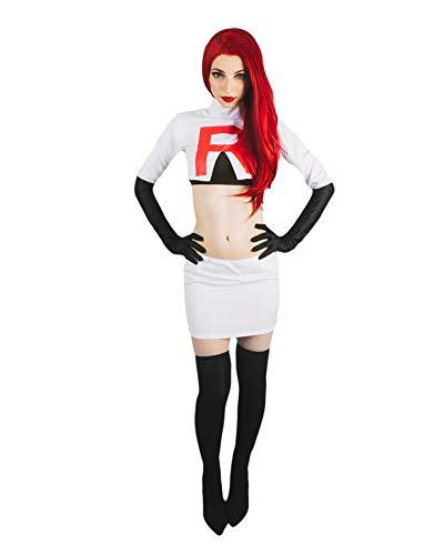 DAZCOS Women US Szie Team Rocket Jesse Printed R Cosplay Costume (Small) White