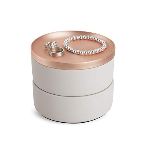 Umbra Tesora Jewelry Box TwoTier Resin Storage Container with Removable Lid Concrete/Copper