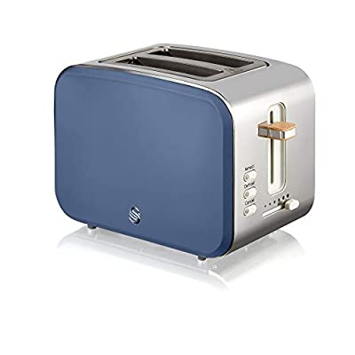Swan Nordic 2 Slice Toaster, Blue, 900W, Scandi Style, 6 Browning Levels
