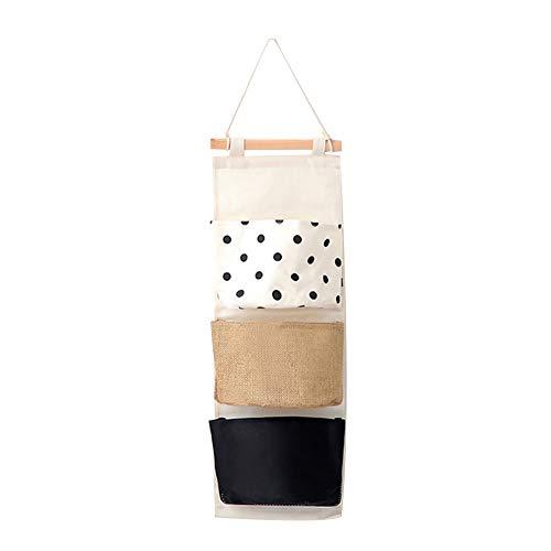 MoGist Organizador para colgar en la pared, diseño de rayas geométricas, puntos, tres bolsillos semicirculares, multifuncional, varias capas, bolsa de almacenamiento (puntos)