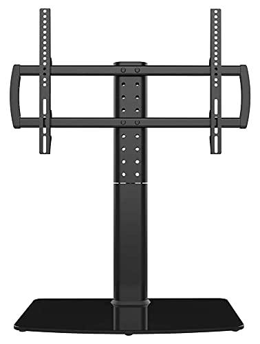 WECDS Soporte giratorio universal para TV, mesa base, TV de 40 a 86 pulgadas, base de vidrio templado giratoria de 110 grados (color negro)