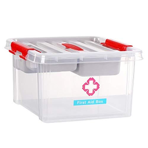 Shounadai Caja médica Material de PP, portátil, doble capa de almacenamiento, multifunción, sellado a prueba de humedad, fácil de limpiar, unidad de jardín de infantes en el hogar escolar, picnic, cam