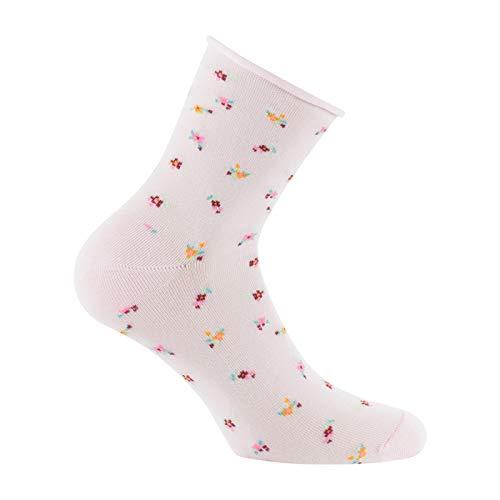 Kindy - Socquettes fleurs en coton made in France - couleur - Rose pâle - Pointure - 37-41