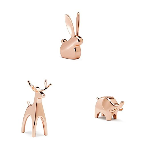 Umbra Anigram Ring Holder– Metal Plated Bunny, Reindeer and Elephant Ring...