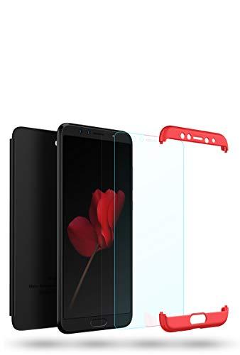 Huawei Honor Nova 2S Hülle Huawei Honor Nova 2S Handyhülle 3 in 1Ultra Dünner PC Harte Schutzhülle 360 Grad Hülle+Panzerglas für Huawei Honor Nova 2S Komplett Hülle Fullbody Case Cover-Schwarz Rot - 3