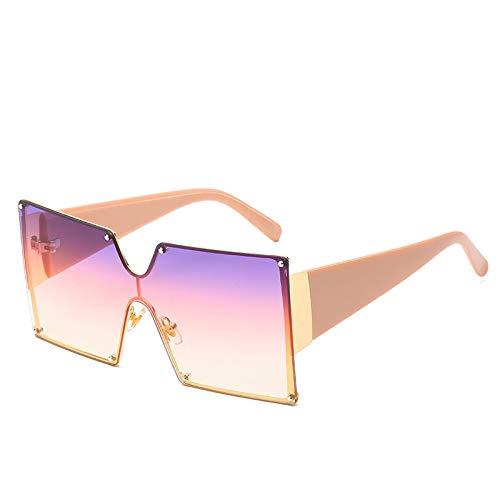 N\P Monokel-Sonnenbrille mit großem Rahmen, Farbverlaufsquadrat, vielseitige Sonnenbrille, geeignet für Frauen, die auf der Straße fotografieren